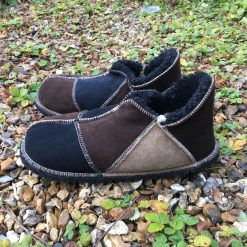 Men's Sheepskin Slippers Black Brown Biscuit
