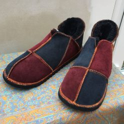 Men's Sheepskin Slippers Damson Ginger Indigo
