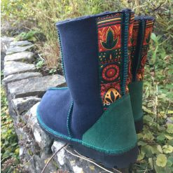 Native American Embroidered Sheepskin Boots Indigo