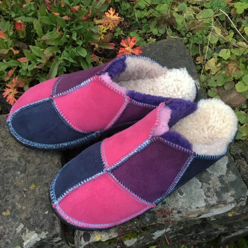 Sheepskin Slippers Pink Purple Navy