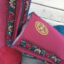Embroidered Sheepskin Boots in Pink and Ocean