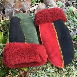 Sheepskin Mittens in Rasta Colours