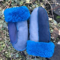Sheepskin Mittens Grey Blue Navy