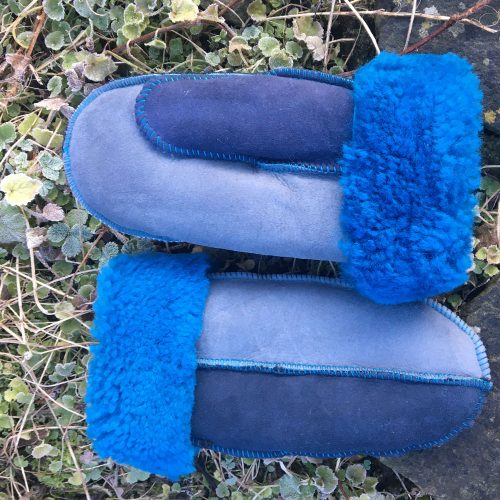 Sheepskin Mittens Grey Blue Navy