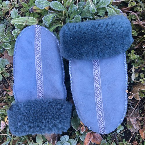 Grey Sheepskin Mittens