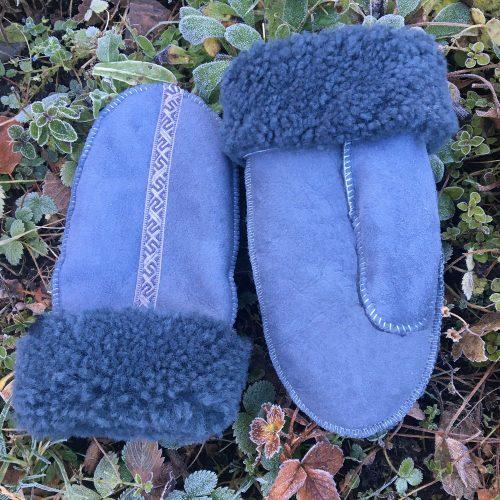 Grey Sheepskin Mittens
