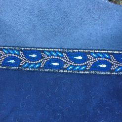 Sheepskin Mittens Grey Navy Embroidery