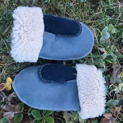 Sheepskin Mittens Grey Navy Embroidery