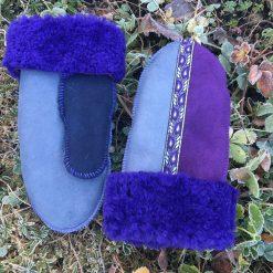 Genuine Sheepskin Mittens Purple Indigo Grey