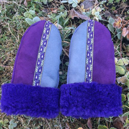 Genuine Sheepskin Mittens Purple Indigo Grey
