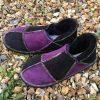 Sheepskin Slippers Purple Black with Rainbow Stitching