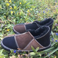 Sheepskin Slippers Black Mocca Vole