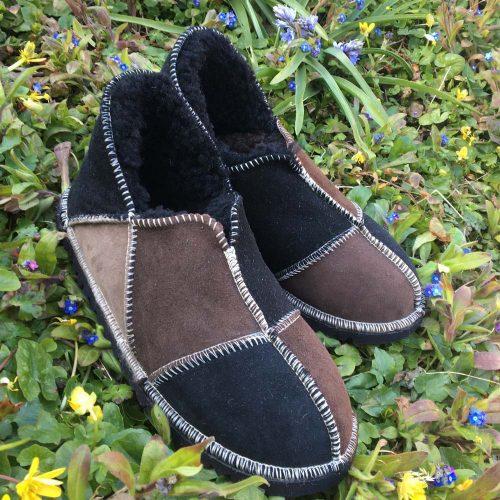 Sheepskin Slippers Black Mocca Vole