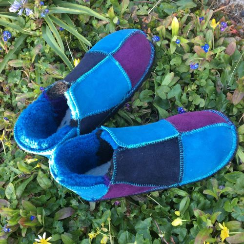 Sheepskin Slippers Purple Navy Ocean