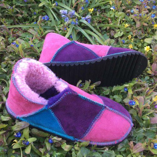 Sheepskin Slippers Purple Pink Ocean