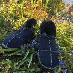 Sheepskin Slippers Indigo Rainbow stitching