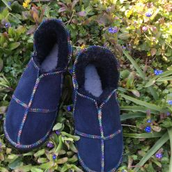 Sheepskin Slippers Indigo Rainbow stitching