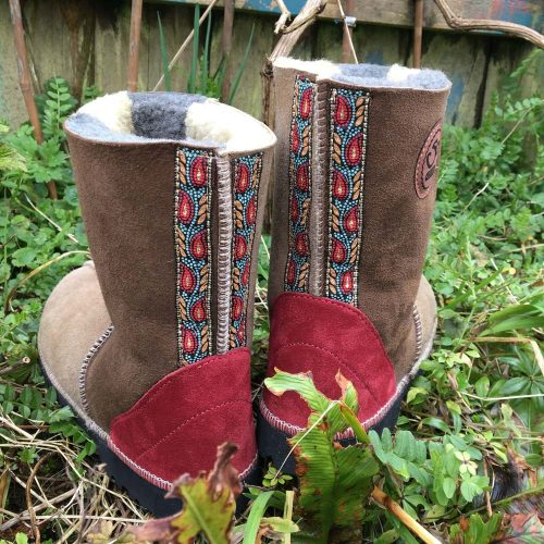 Embroidered Sheepskin Boots Earth Colours