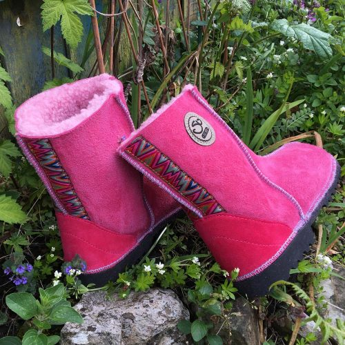 Pink Sheepskin Boots