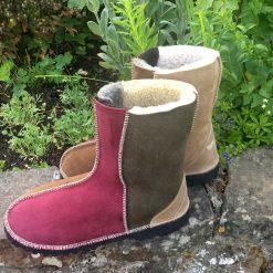 Sheepskin Boots Bark Damson Indigo Willow