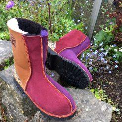 Sheepskin Boots Purple Damson Ginger Leopard