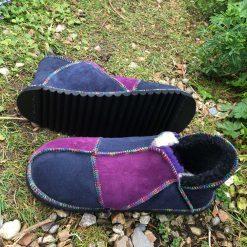 Sheepskin Slippers Purple and Indigo