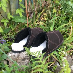 Sheepskin Slippers Backless Mules Brown