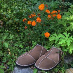 Sheepskin Slippers Backless Mules Bark