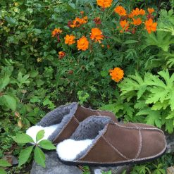 Sheepskin Slippers Backless Mules Bark