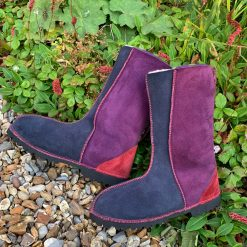 Sheepskin Boots Calf Height Purple Navy