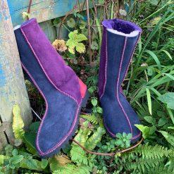 Sheepskin Boots Calf Height Purple Navy