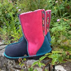 Embroidered Sheepskin Boots in Pink and Indigo