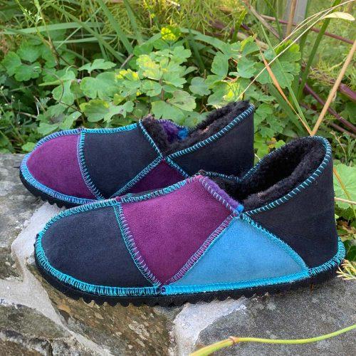 Sheepskin Slippers Purple Indigo Ocean