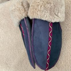 Sheepskin Mittens Indigo Grey Braid Medium long