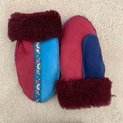 Sheepskin Mittens Red Navy Ocean Braid Medium