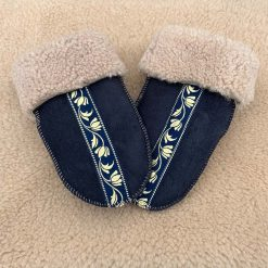 Sheepskin Mittens Navy & Braid