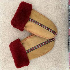 Sheepskin Mittens Spice & Red