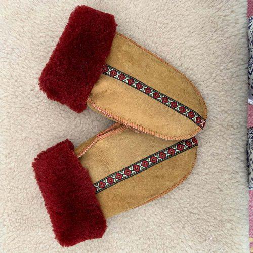 Sheepskin Mittens Spice & Red