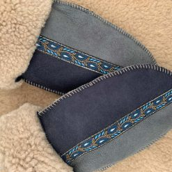 Sheepskin Mittens Grey Slate Blue Braid