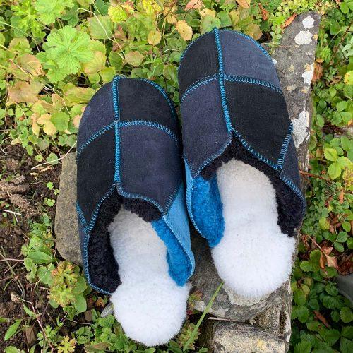 Sheepskin Slippers Black Indigo Ocean