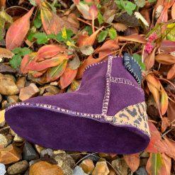 Baby Sheepskin Boots Purple Indigo Leopard
