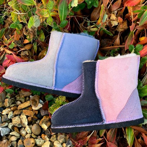 Kids Sheepskin Boots Denim Slate Grey Rose Lilac