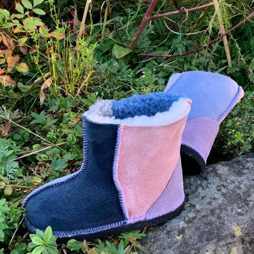 Kids Sheepskin Boots Denim Slate Grey Rose Lilac