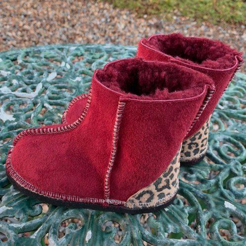 Kid's Sheepskin Boots Red Leopard