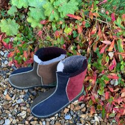 Sheepskin Boots Indigo Wine Willow Bark