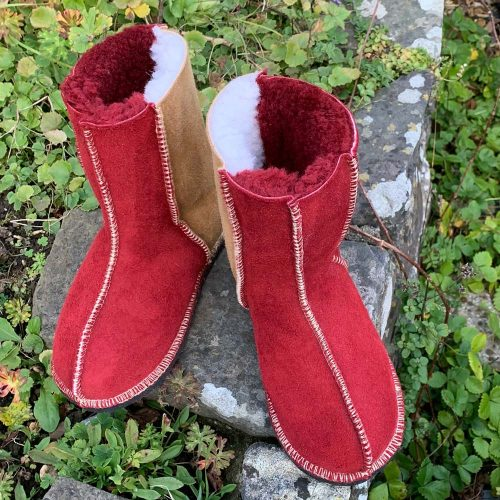 Kid's Sheepskin Boots Red Spice Leopard