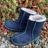 Kid's Sheepskin Boots Navy Green