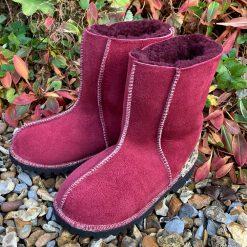 Sheepskin Boots Wine & Leopard