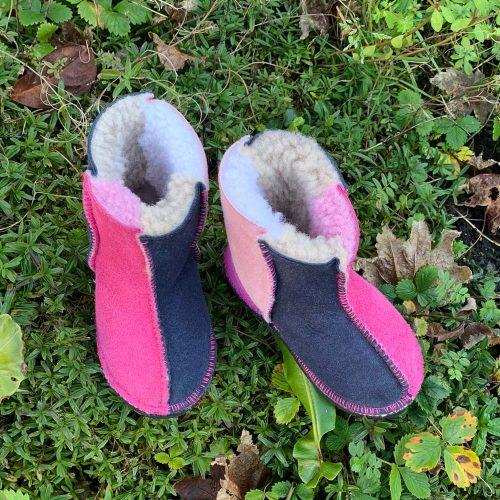Kid's Sheepskin Boots Pink Slate Rose