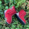 Kid's Sheepskin Boots Red Leopard